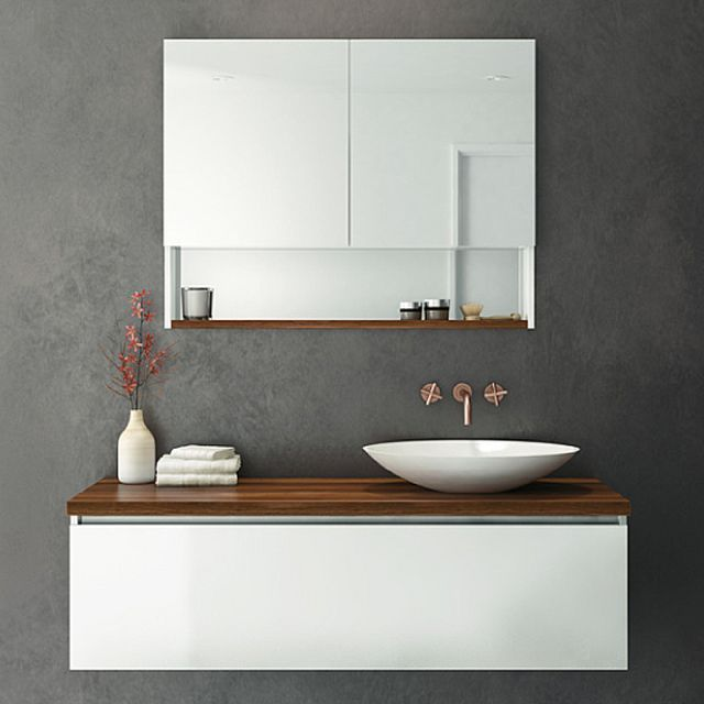 Rifco Platinum Wall Hung Vanity 1200mm With Timber Top In Blackwood Oasis Basin Small Bathroom Vanities Stylish Bathroom Wall Hung Vanity