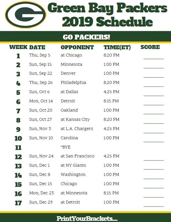 Printable Green Bay Packers Schedule - 2019 Season ...
