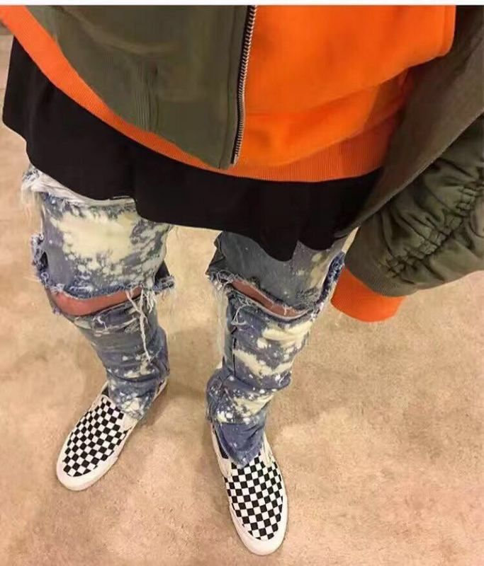 >> Click to Buy << 2017 Newest Spray Paint Destroyed Biker Jeans Skinny Fit Zipped Ankle Vintage Indigo Ripped Stretch Jeans Free Shipping #Affiliate