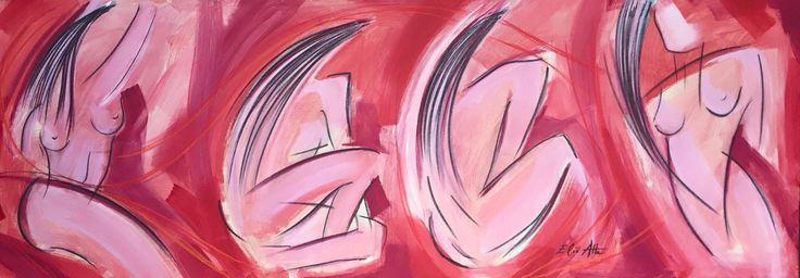 """"""" DONNE """"  Acrilico e gessetti cretosi su tela 60x170"""