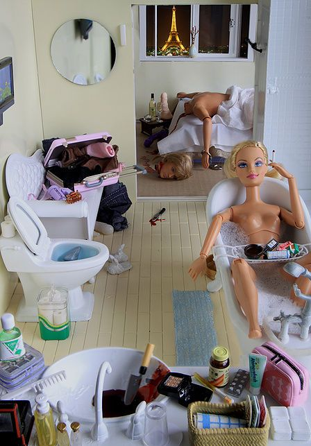 Dammit Barbie..what is that knife doing on the floor? Pick it the fuck up before someone gets hurt. #barbie