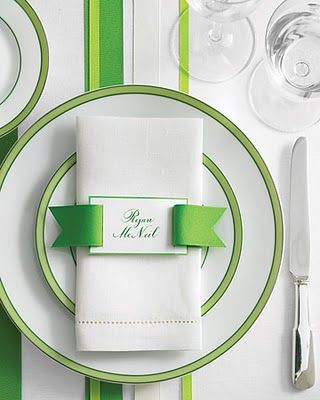 Ribbon belt details, like this placecard napkin ring (above), and the ribbon belt detail on the menu card add some preppy chic-ness to the place setting.