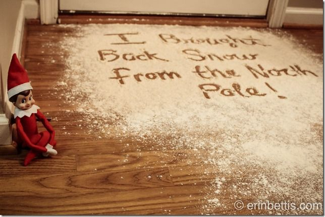 Elf on the Shelf snow from the North Pole, easy to do and takes seconds to clean up