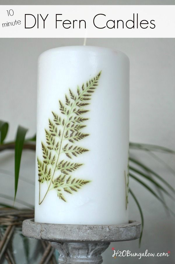 10 minute easy DIY fern image candle.  Update your decor with trendy ferns. H2OBungalow