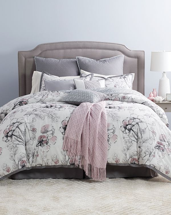 If you're looking for a more contemporary design, this 10-piece floral comforter set from Kelly Ripa Home is just perfect. It includes a comforter, two standard shams, two European shams, three decorative pillows, a bed skirt, and a throw rug. Shop now!