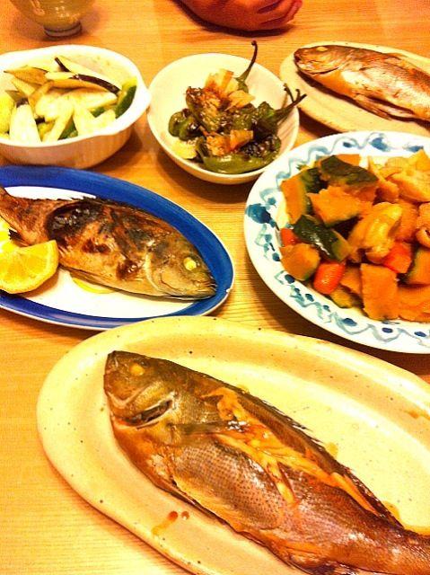 母の知り合いが釣ったイサキ♪♪ 一昨日は刺身で頂きましたが 今夜は煮付け2匹と塩焼き3匹‼ 立派でした(#^.^#) 他は かぼちゃと鶏肉の煮物。 明日は運動会なのでおかずに最適‼ - 7件のもぐもぐ - イサキ祭り♪♪ by yurihana