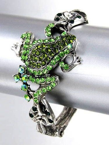 Antique Silver Tone Crystal Green Frog Hinged Cuff Bangle Bracelet Fashion Jewelry Lamont,http://www.amazon.com/dp/B00HZ7J3P4/ref=cm_sw_r_pi_dp_-W5-sb0FAAQVEWCT