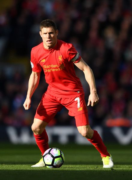 James Milner of Liverpool in action during the Premier League match between Liverpool and Crystal Palace at Anfield on April 23, 2017 in Liverpool, England.