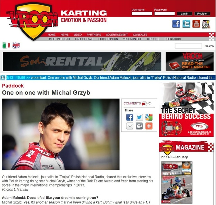Interview with Michał Grzyb on Vroomkart magazine