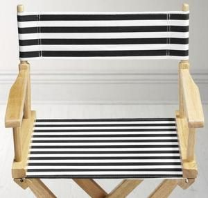 Director' s Chair Striped Canvas Seat And Back, STRIPED SET, BLACK WHITE