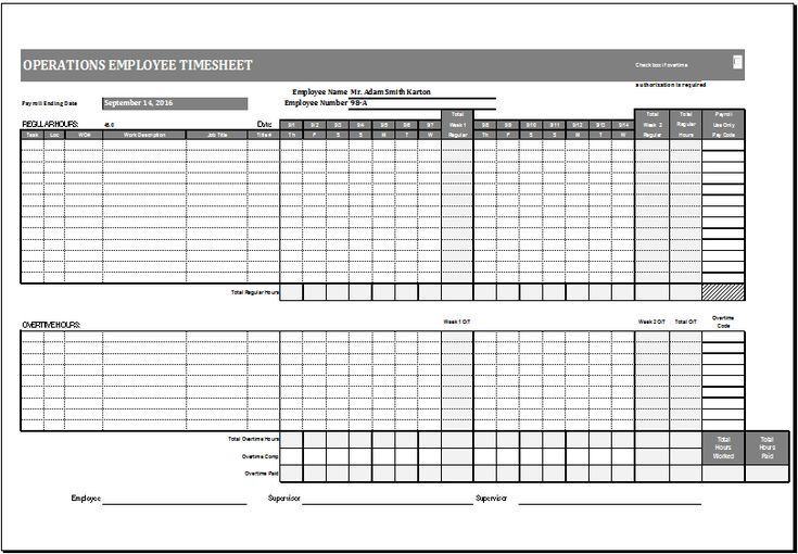 Operations employee time card template at http\/\/wwwxltemplates - biweekly time sheet calculator