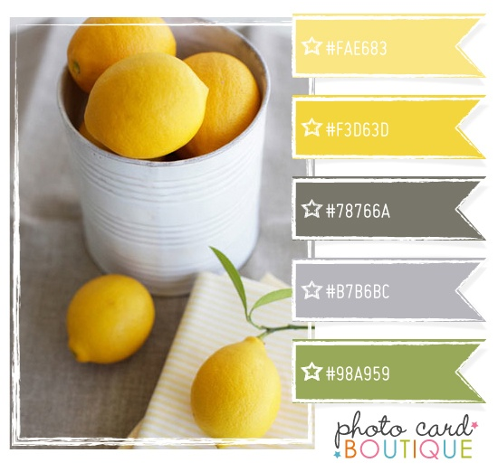 That trendy yellow and gray again with a hint of green - love that hint of green! Would love in a bathroom or maybe laundry room..