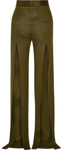 Balmain - Stretch-knit Wide-leg Pants - Army green