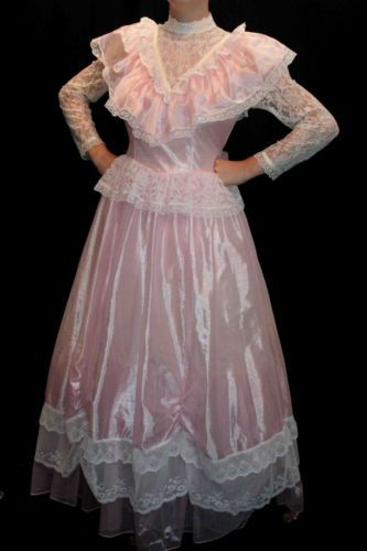 S-M-SHEER-PINK-RUFFLED-LACE-VTG-80s-LONG-SOUTHERN-BELLE-PARTY-PROM-GOWN-DRESS
