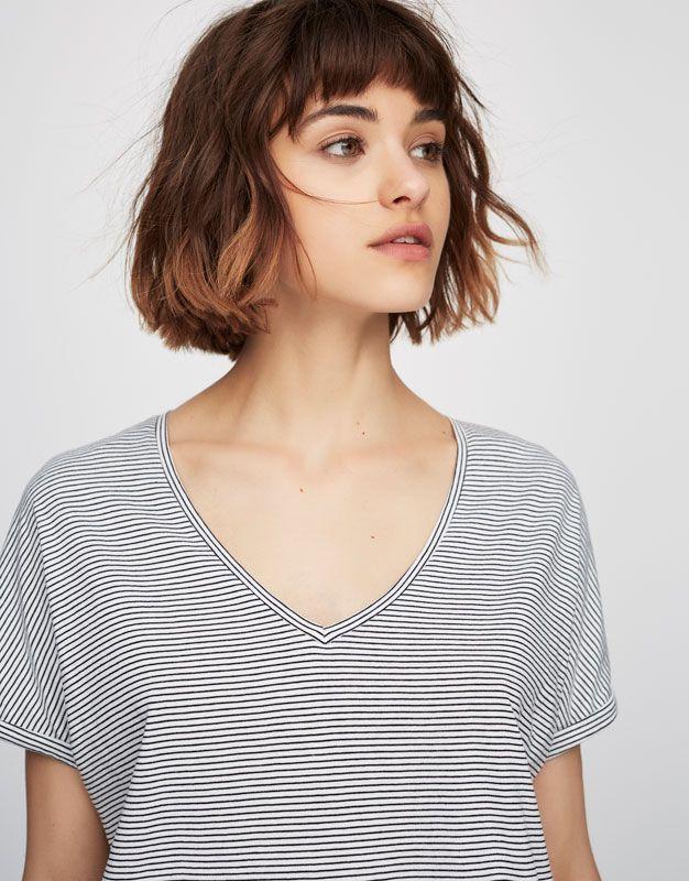 T-shirt basic col enV - T-shirts - Vêtements - Femme - PULL&BEAR France