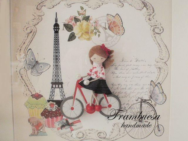 Detalle de cuadro de frambuesa ciclista, fondo París.pvp 29.90 eur.