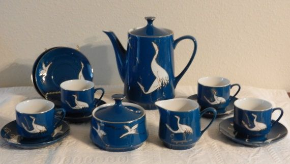 blue coffee set with cranes - Google Search