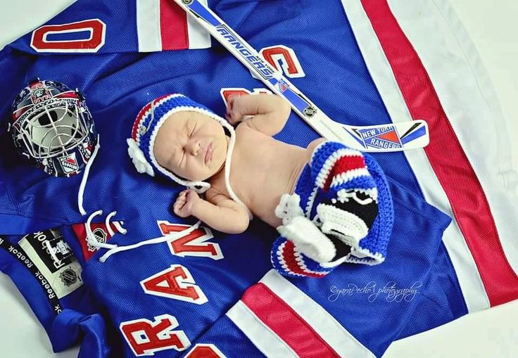 BABY GIRL HOCKEY Outfit, New York Rangers pacifier not included. Crochet Baby Hockey Outfit, Knit Baby Hockey Hat, Baby Knit Hockey Skates by Grandmabilt on Etsy