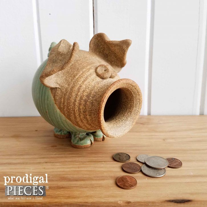 Stoneware Farmhouse Style Piggy Bank available at Prodigal Pieces | prodigalpieces.com