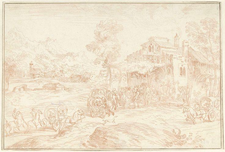 Jean Antoine Watteau | Landschap met vele figuren bij een herberg, Jean Antoine Watteau, Domenico Campagnola, 1715 - 1840 | Gezicht op een dorp waar mensen arriveren bij een feest voor een herberg met dansende paren en muzikanten.