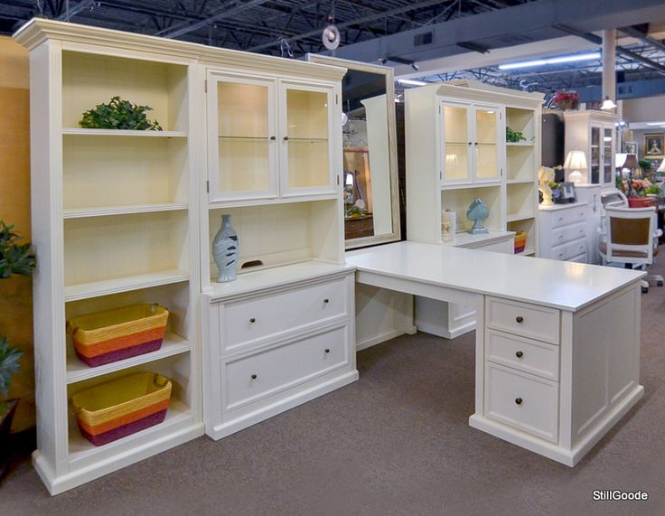 Very Wide White Wall Unit Style Partner Desk With