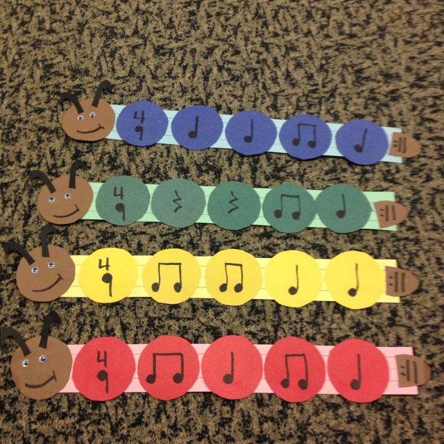 Caterpillar rhythms - I use these at instrument stations - and we relate that each circle with a rhythm on it is one beat - each caterpillar is a measure!