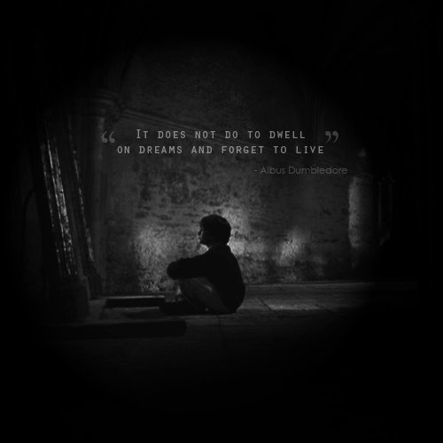 """""""It does not do to dwell on dreams and forget to live."""" HP."""