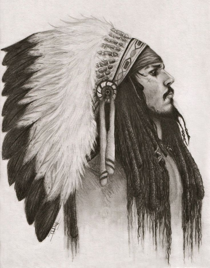 A drawing of Captain Jack Sparrow in an Indian chief headdress