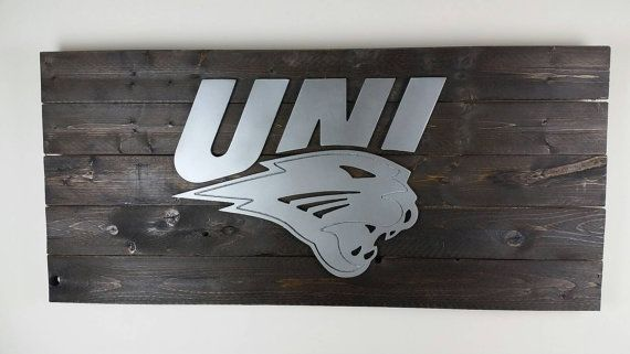 For D or J we want to finish our basement  35 University Of Northern Iowa Panthers Sign by TheMidtownPatio