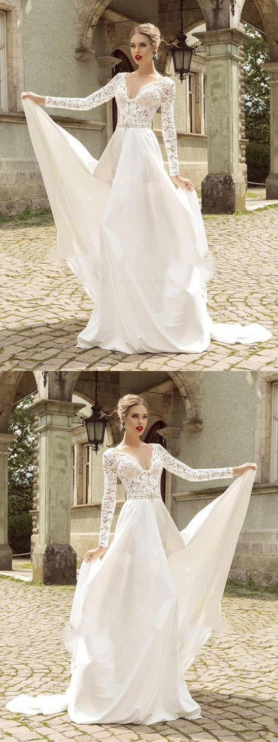 Soft Prom Dress, Chiffon Prom Dress, V-Neck Wedding Dresses, Ivory Wedding Dresses