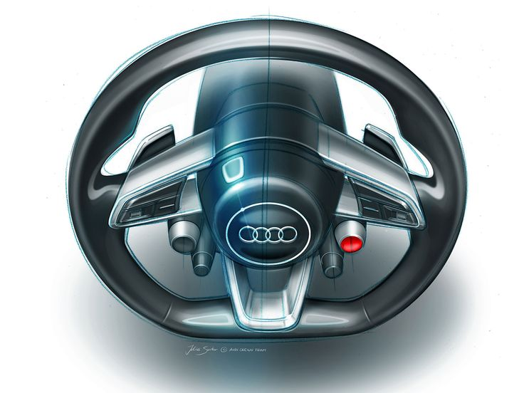 Audi Quattro Sport E-Tron Concept - Steering Wheel Design Sketch black futuristic blue sport multifunction metallic