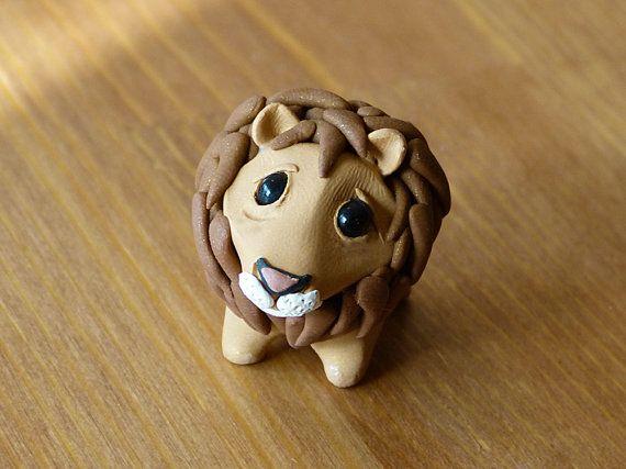 Tiny lion - Handmade miniature polymer clay animal figure