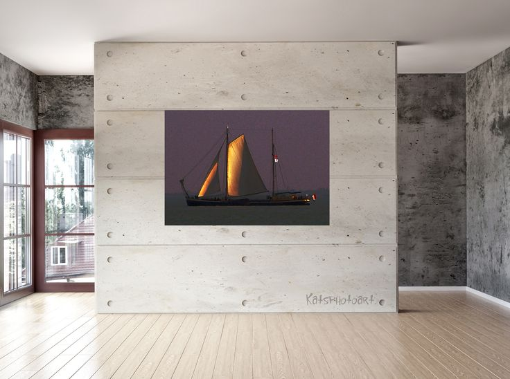 "Kats Original ""Barge"" Certified Fine Art PhotoRag print. 100x 100 cm Diasec 2 mm mat acrylaat / 4 mm Alu-Dibond."