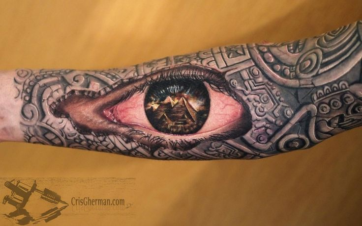 aztec sleeve an eye tattoo i dig it tattoos. Black Bedroom Furniture Sets. Home Design Ideas