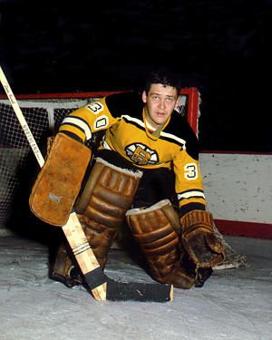 Bernie Parent playing for the Bruins