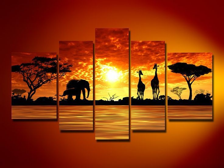 High Quality 5 Piece Home Decoration Modern Oil Painting On Canvas Wall Art  African Sunset Elephant