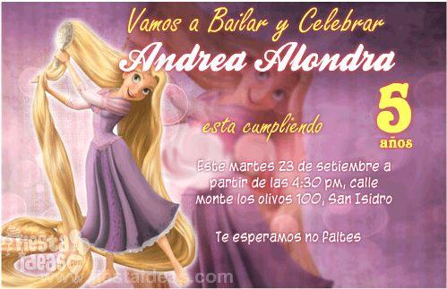 invitaciones de Rapunzel