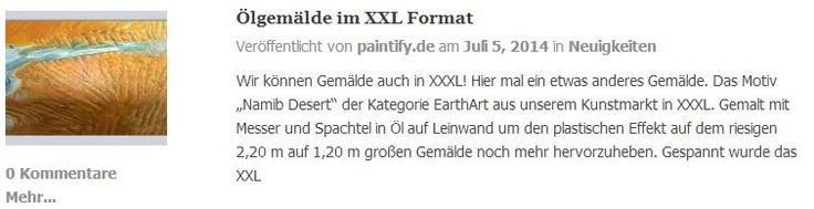 Gemälde XXL - Ölgemälde in der Größe 2,2 m auf 1,2 m! Details hierzu auf dem paintify blog :  https://www.paintify.de/blog/news/oelgemaelde-im-xxl-format  #paintify #news #neuigkeiten #Fotos_auf_Leinwand #Fotos #Leinwand #Gemälde #Ölgemälde #XXL
