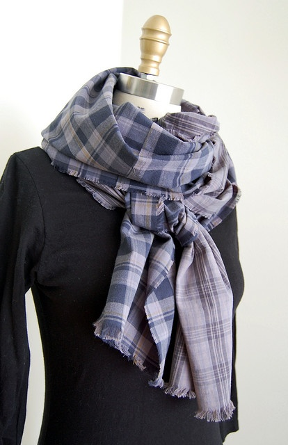 Blue and Gray Tartan Scarf paired with a black sweater create a classy Fall ensemble