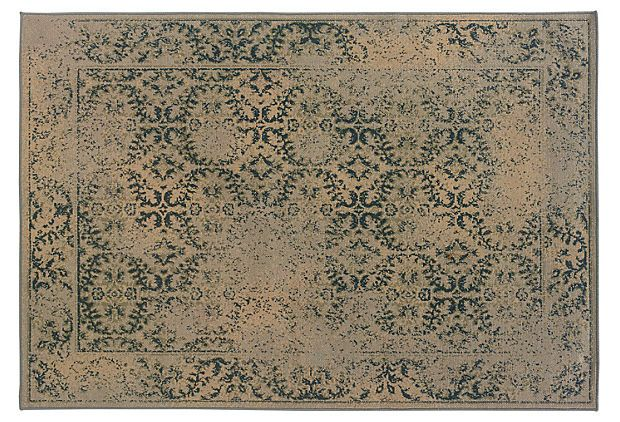 Bronnen Rug, Dark Teal/Tan/Gray on OneKingsLane.com