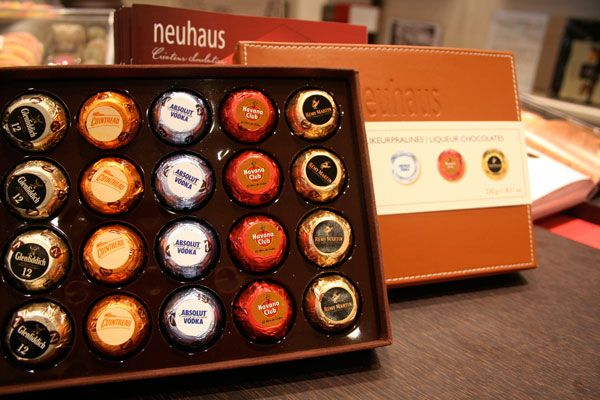 Cool Gifts for Dad: Belgian chocolate filled with cognac, Cointreau, vodka, and whisky--you are everything Dad never knew he always wanted.