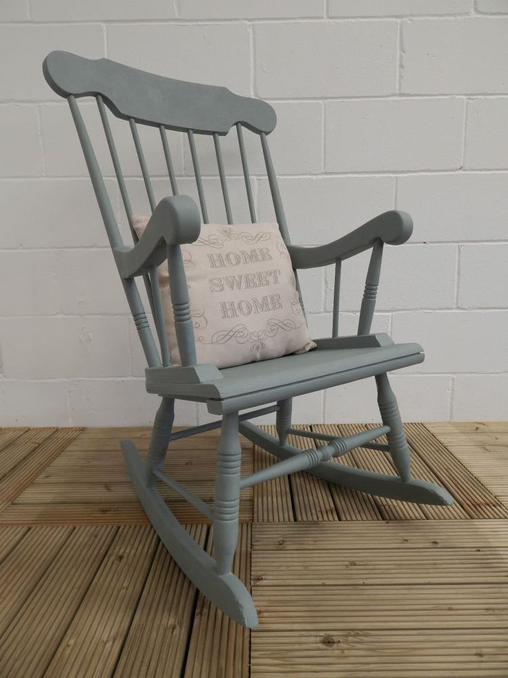 Wooden Rocking Chair painted in Annie Sloan Duck Egg Chalk ...