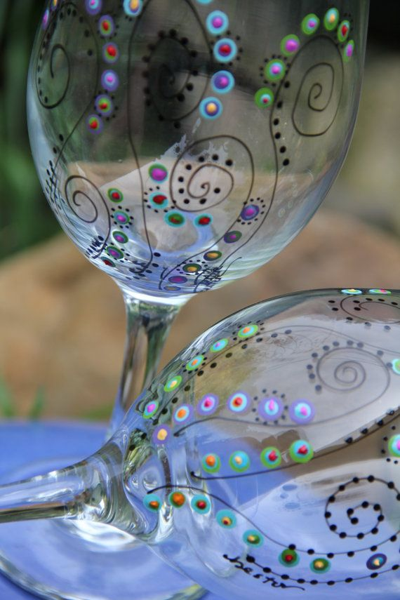 Wine Glasses  Hand Painted by ToNYaBeSToRDeSiGNS on Etsy, $29.95