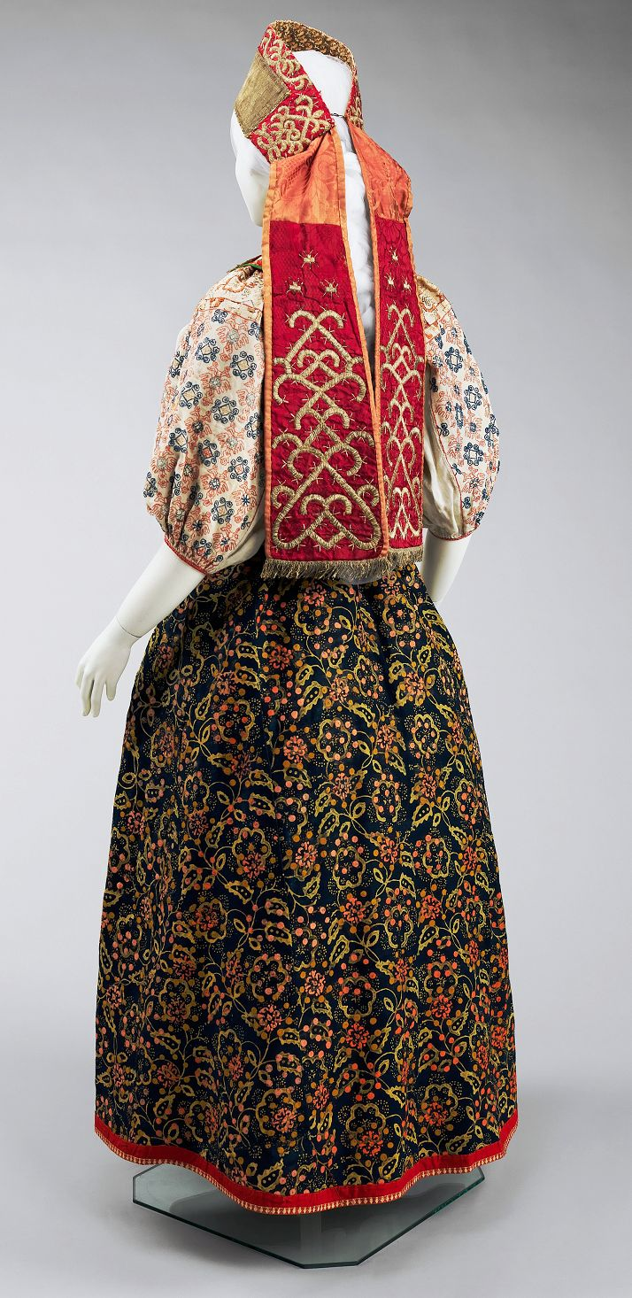 Russian folk costume. Late 17th-19th century. (http://metmuseum.org/collections/search-the-collections/157890?img=1)