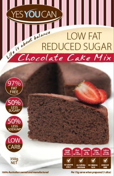 YesYouCan Chocolate Cake Mix - $5.99  YesYouCan Diabetic Friendly Cake Mixes are a great low fat, reduced sugar dessert option to assist in maintaining a healthy weight and controlling blood sugar levels.Made in accordance with Australian Heart Foundation Dietary Guidelines and nutritional requirements of the Australian Diabetes Foundation.