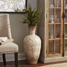 Bella Antique White Terracotta Floor Vase
