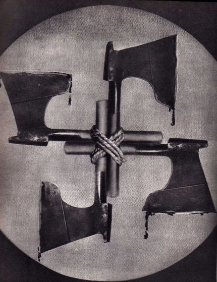 'John Heartfield (1891–1968) is the anglicized name of the German photomontage artist Helmut Herzfeld. Heartfield developed photomontage into a form of political and artistic expression. His photomontages satirising Adolf Hitler and the Nazis often subverted Nazi symbols such as the swastika in order to undermine their propaganda message.