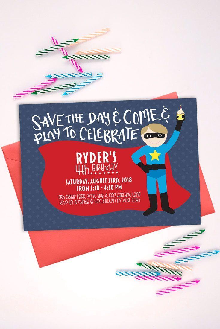 Boy Superhero Birthday Invitation Printable Party Invite Superherobirthday