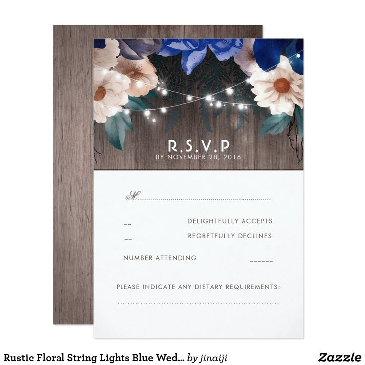 Rustic Floral String Lights Blue Wedding RSVP Card Wood, flowers and string lights rustic country barn blue accents wedding reply cards