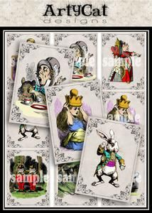 This downloadable and printable image set features Alice In Wonderland characters in artist trading card size. The illustrations are beautifully colored, and each Mad Hatter, White Rabbit, Alice, Tweedle, Cheshire Cat, or Queen Of Hearts vintage drawing has a frame design around them. Whimsical collage elements for altered art fun or tea party paper craft inspiration. #wonderland #Alice #MadHatter #CollageElements #Printabledownloads #FramedIllustrations